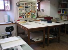 Conservation lab tables and shelves