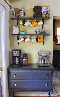 mug rack above coffee station