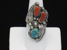 NAVAJO Sterling Signed ES Native American Turquoise Coral Feather Ring SZ 8 at http://stores.ebay.com/A-Touch-of-Rose-Vintage-Jewels