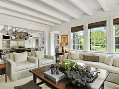 Living room of a house on an East Hampton compound