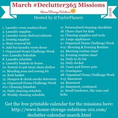 Join the #Declutter365 missions on Instagram and show off what you declutter. Here are your 15 minute missions for March! Follow @taylorflanery to see the missions daily.