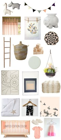 The inspiration for our Serena & Lily nursery. A riff on our Desert Rose nursery board from a few months ago, but a bit more modern. Blush, mint, black, white, and natural... We heart it!  #serenaandlilystyle 100layercakelet.com