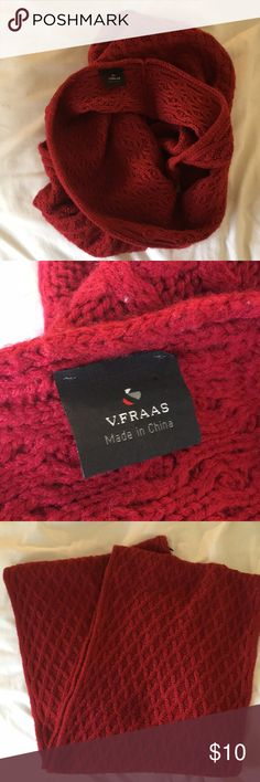 "V. Fraas Basket Weave Infinity Scarf (Macy's) Cozy red basket weave infinity scarf from Macy's. Barely worn, no pulls, holes or stains. Sure to brighten up the month of March 😉 34"" length loop 12"" wide V. FRAAS Accessories Scarves & Wraps"