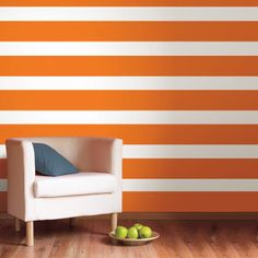 I'd love to use these stickers to change the direction of the stripes from day to day - just to keep everybody on their toes! Tuesday through Friday would be vertical. Saturday and Sunday would be horizontal. And Monday? Every which way until I pull it together and get vertical again! (Wall Pops Ghost White Stripe Wall Decals @Layla Grayce)...cc