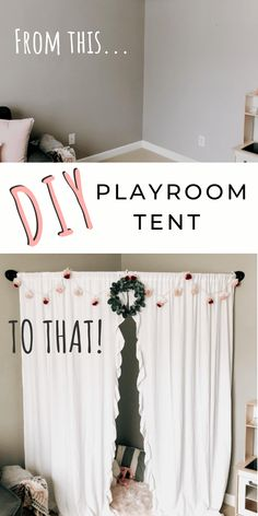 Aren't those little playroom tent teepee's just ADORABLE... but not necessarily something that would work in your space? Check out this cute AND easy DIY playroom tent - perfect for little girls. #diy #doityourself #diyeverything #playroom #playroomideas #playroomdecor #diykidstent #playroomtent #girlstent #girlsteepee