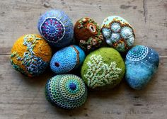 Felted stones lil fish studios: completed stone - ks in Minnesota