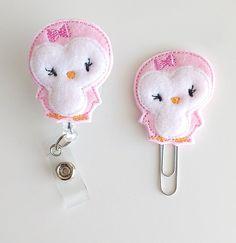 Pink Penguin Feltie Paperclip | Badge Reel Felt Badge Reel | Badge Holder | Lanyard | Planner Clip | Planner Accessory | Felt Penguin