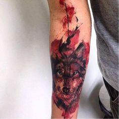 Feita por John Needle #JohnNeedle #JonathanBrito #wolf #wolftattoo #watercolor #aquarela #lobo