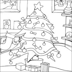 Santa Claus And Presents Printable Coloring Pages Christmas