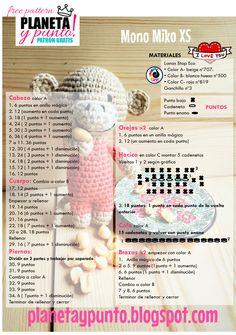 Patron gratis: amigurumi Mono Miko tamaño XS-Free pattern Amigurumi Tutorial, Crochet Patterns Amigurumi, Crochet Dolls, Crochet Yarn, Crochet Monkey, Love Crochet, Crochet Gifts, Crochet Animals, Crochet Projects
