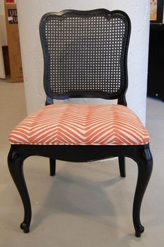 Going To Paint Our Cane Back Chairs Black And Reupholster Them Too