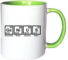 Mister Merchandise Kaffeetasse Becher Genius Periodentafel Chemistry Teetasse, verschiedene Farben - http://geschirrkaufen.online/mister-merchandise/weiss-gruen-mister-merchandise-kaffeetasse-nerd