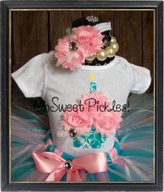 DREAMY KISSES - Includes 3D Frosted Cupcake  BIRTHDAY Long Sleeved Shirt,  Baby Bodysuit Hairclip/Headband  - Newborn, 1st, 2nd  Birthday
