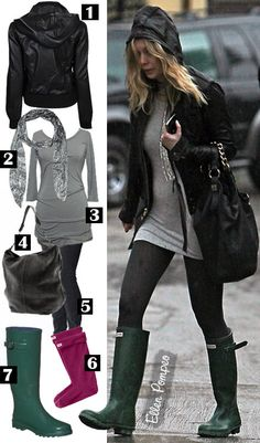 Grey's Anatomy star Ellen Pompeo stays dry in her Hunter Original Tall Boots in forest green.
