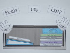 Love the idea of having a visual of what their desk should look like inside. .....Follow for Free 'too-neat not-to-keep' literacy tools  fun teaching stuff :)