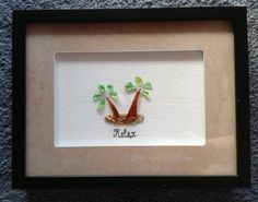 Palm Tree Hawaiian Sea Glass Shadow Box by Wendywen74 on Etsy, $60.00