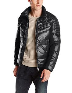 Quilted jacket featuring zippered chest pockets, logo patch on left arm, and optional drawstring hood%0AZipper-front%0ATwo zippered hand pockets