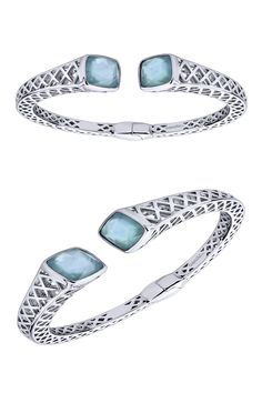 How tempting is this silver and stainless steel temptation cuff bangle? This stunning 925 Silver/stainless Steel Rock Crystal&white Mother Pearl&green Onyx Cuff Bangle by Gabriel  & Co. has gorgeous designs and details all around it.