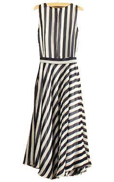 #SheInside Navy White Striped Sleeveless Belt Chiffon Dress - Sheinside.com