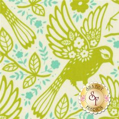 Up Parasol PWHB047-CHART Chartreuse Meadowlark By Heather Bailey For Free Spirit Fabrics