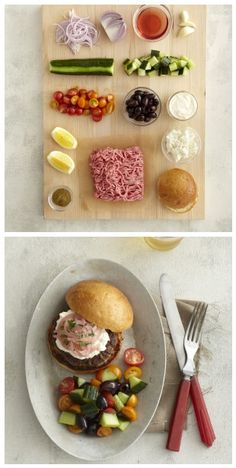 Before and after -- Lamb burgers with Greek salad -- so easy, so yum!