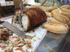 Porchetta( young pig) at  Saturday market, Citta' della Pieve, Umbria, Italy