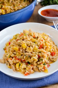 Slimming Eats Chicken, Red Pepper and Sweetcorn Risotto - gluten free, dairy free, Slimming World and Weight Watchers friendly Chicken And Sweetcorn Soup, Chicken Risotto, Slimming Eats, Slimming World Recipes, Slimming Word, Filet Mignon Chorizo, Cooking Recipes, Healthy Recipes, Meat Recipes