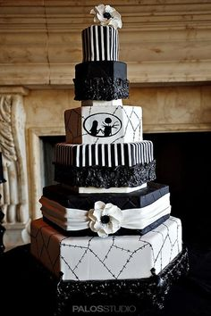 black and white, Nightmare before Christmas Wedding cake- super unique! I love it becuase it's not super colorful and all. I am not the kind of person who likes over the top weddings.