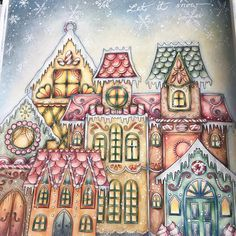 The gingerbread houses are already finished. #johannabasford #johannaschristmas #johannaschristmascoloringbook #coloringbook #creativecoloring #fabercastelglobal #staedtler #colorfull #ilovetocolor #colouredpencils #creativcolouring#divasdasartes #fabercastell #polychromos #pittpastels #rembrandt soft pastels