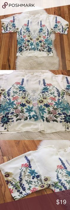 New Boho Kimono Sooo lovely and perfect for spring, floral kimono with a gorgeous floral print. Lightweight and easy to throw over a tank for an effortless look. Size XS/S and true to size fits a women's size 0/2/4/6 - no signs of wear. Bundle to save or make an offer! Urban Outfitters Tops