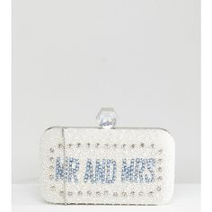 Amelia Rose Embellished Box Clutch Bag With Mr & Mrs Motif (1,300 MXN) ❤ liked on Polyvore featuring bags, handbags, clutches, white, white purse, box clutch, beaded clutches, white clutches and white handbag