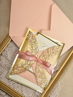 Art+Deco+Invitations+20+Wedding+Peach+Gold+by+forlovepolkadots