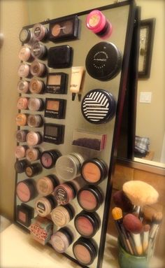 DIY. magnetic makeup holder ... My cousins brilliant idea
