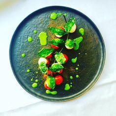"Marco Tola @marco_tola_chef ""Caprese... Pomodorini al forno, mozzarelline di bufala, terra di olive nere, basilico vetrificato"" #chefemaitre #giblorsivrea #theartofplating #caprese #artfood #fashionfood #photofood #foodart #foodgasm #amazing #foodstyling #foodstyle #foodphotography #italianstyle #italianfood #luxuryfood #healtyfood #vegetarian #gourmet #gourmetartistry #gastroart #gastroartistry"