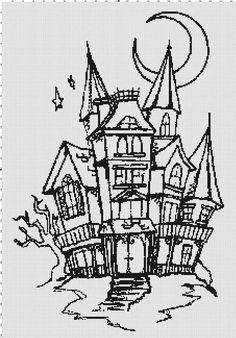 Halloween Haunted House Silhouette Cross-Stitch Pattern
