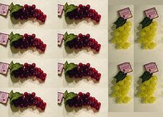 Faux Artificial Grapes 12 Bunches in 2 Different Colors Red and Yellow