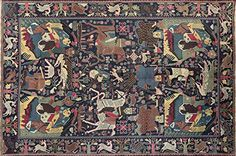 $1,740 Hand Knotted Tribal Pictorial Navy Blue 6'x9' Afghan Wool & Wool Area Rug P1381