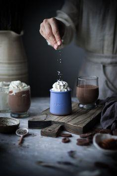 Delicious Lavender & Vanilla Milk Hot Chocolate recipe featuring Valrhona JIVARA 40% by Kayley of The Kitchen McCabe