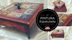 DIY Caixa Rústica,  decoupagem com falso azulejo e pintura espatulada By...