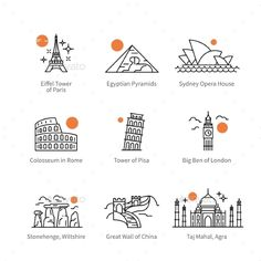 Buy City Travel Landmarks of Europe, Asia and Africa by IconicBestiary on GraphicRiver. City travel landmarks, tourist attraction in various countries of Europe, Asia and Africa. Thin black line art icons . Line Art, Travel Doodles, Travel Icon, Asia Travel, Travel Logo, Travel Maps, City Icon, Travel Drawing, Travel Scrapbook
