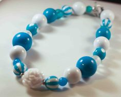 White and Blues Winter  Chunky Necklace Birthday  by ittybittylydi, $21.99