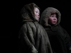 Nenets children in a chum, Nadym Region, Siberia