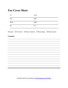 Blank Fax Cover Sheet - Printable PDF