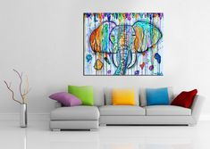 Elephant painting, paint drip elephant, art, modern,india,henna,abstract,rainbow,abstract elephant,ganesha,ganesh, tribal, trippy, funky