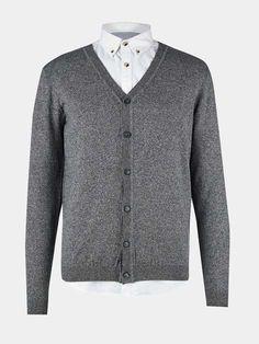 Grey Textured Cardigan Jumper - Mens Jumpers & Knitwear - Clothing - Burton