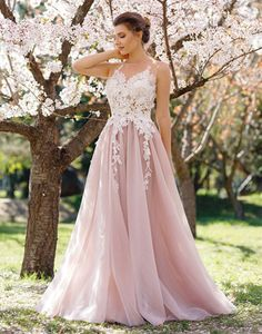 pink lace tulle long prom dress