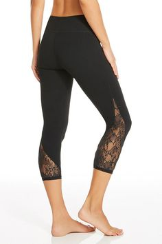 Capri Don't call me cute. These lace detailed leggings may look sweet, but the performance factors are hardcore. Stretch, sweat and move in fall's must-have bottoms. Moda Fitness, Fitness Gear, Workout Attire, Workout Wear, Workout Outfits, Workout Shoes, Workout Pants, Workout Clothing, Fitness Clothing