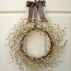 Christmas Wreath, Holiday Wreath, Gold Berry Christmas Wreath for Holiday Decor, Gold Wedding Wreath, Bridal Anniversary Decoration, Wreath Pair by AWorkofHeartSA, $65.00