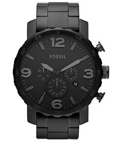 Fossil Watch, Men's Chronograph Nate Black-Tone Stainless Steel Bracelet 50mm JR1401 - Fossil - Jewelry & Watches - Macy's