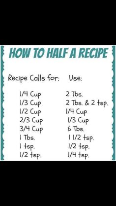 How to Half a Recipe - just in case you are cooking for yourself and dont need a whole big meal! Think Food, Food For Thought, Love Food, Do It Yourself Videos, Cooking Measurements, Recipe Measurements, Ruler Measurements, Half And Half Recipes, How To Half A Recipe